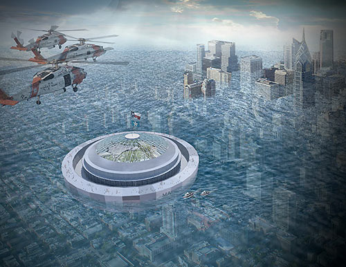 Rendering of Floating Astrodome by HiWorks Architecture and Erica Goranson