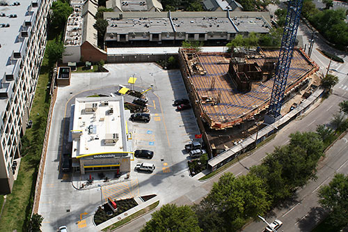 Aerial View of Galleria McDonald's and Astoria Condo Tower Under Construction, San Felipe St. at Garretson, Uptown, Houston