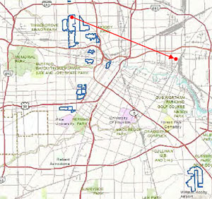 Relocation Map of 1815 Cortlandt St., Houston Heights to 1026 Lathrop St., Denver Harbor, Houston