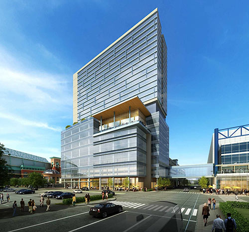 Proposed Office Building, Hotel, and Parking Garage for Greater Houston Partnership, Avenida de las Americas at Capitol St., Downtown Houston