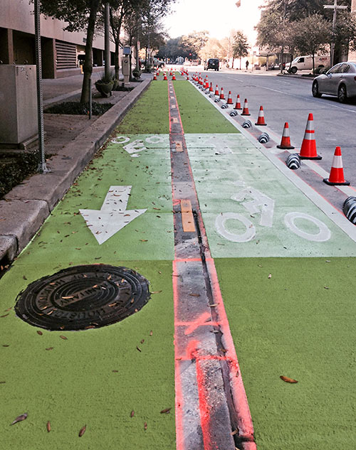 Construction of Lamar St. Bike Lane, Downtown Houston