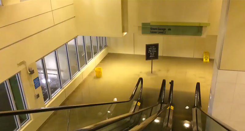 Flooding in Galleria Garage, May 26, 2015, Houston